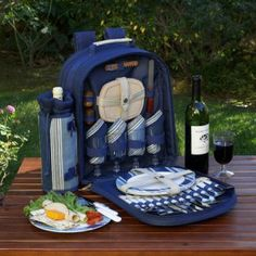Aegean Picnic Backpack with Four Place Settings http://www.sailboat-interiors.com/ http://www.sailboat-interiors.com/store
