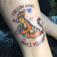 """Tiger from Disney """"Winnie the Pooh"""" leg tattoo"""