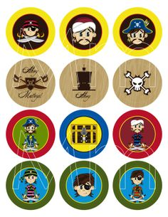 Swashbuckling Cute Pirates Cupcake Toppers by markmurphycreative, £2.45
