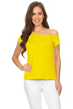 1e1a44a9c456 Yellow One Shoulder Top Womens Short Sleeve Loose Casual Top