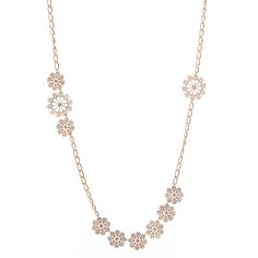 Blooming with unique style, this gold layered necklace with its floral design is sure to please. Layered or worn alone, this floral necklace adds sophistication and unique style to any outfit. A piece that is versatile and a perfect complement to any resort outfit.