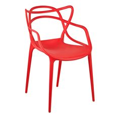 Gold Sparrow Gabriel Stackable Dining Arm Chair - Set of 2 Red Philippe Starck, Red Accent Chair, Accent Chairs Under 100, Masters Chair, Retro Armchair, Comfortable Accent Chairs, Dining Arm Chair, Arm Chairs, Office Chairs