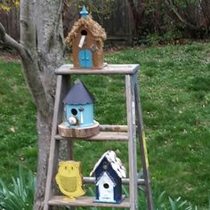 My finished birdhouses on the ladder project.