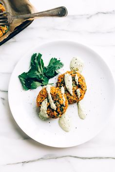 Carrot-Lentil Cakes with Garlic-Herb Tahini Sauce - Blissful Basil | Plant-Based Vegan Recipes by Ashley Melillo
