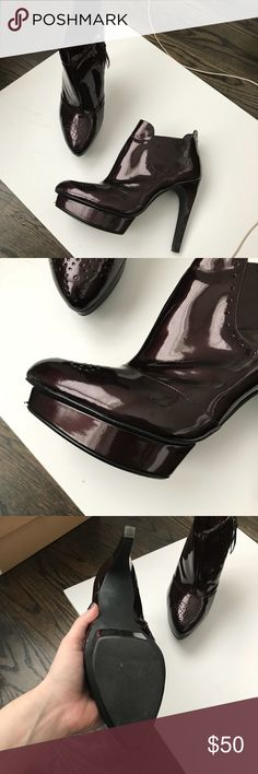 Trouve oxblood patent platform ankle boot, sz11 Patent ankle boot from Nordstrom store brand, Trouve. A beautiful oxblood color with oxford detailing, 1in platform and 5in heel. Worn only once. Super sleek! Trouve Shoes Ankle Boots & Booties