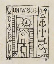 """Universus"" 1932. Tinta sobre papel. 14.2 x 11.3 cm Joaquín Torres García · Obra · Artistas Vanguardia Histórica, Arte Moderno · Leandro Navarro"