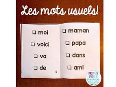 Primary French Immersion Resources: Les mots usuels