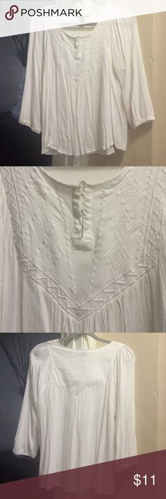 Embroidered Blouse Forever 21 embroidered flowy white blouse. Size large. Approx 24 in L from shoulder. Price firm. No trades Forever 21 Tops Blouses