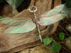 Flying Key sculpture Skeleton key with wings by PolkaDotToadstool on Etsy