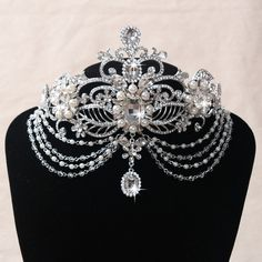 27.84$  Buy now - http://vicqf.justgood.pw/vig/item.php?t=m92lg91886 - Bride Pearl Crystal Rhinestone Head Pendant Wedding Bridal Headband Hair Accesso 27.84$