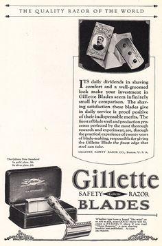 1925 Gillette Safety Razor Blades: Quality Razor of the World, Print Ad