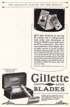 1925 Gillette Safety Razor Blades: Quality Razor of the World, Print Ad