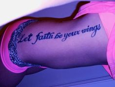 I love this, but prefer on the back close to the shoulders, with a pair of small white wings, to the end