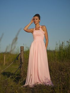 Halter Column Chiffon Dress