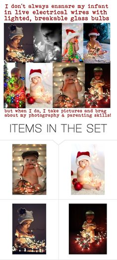"""""""Parent photog idiots"""" by audreyterp ❤ liked on Polyvore featuring art, Christmas, red, GREEN, lights and children"""