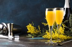 Buy cocktail mimosa with orange juice and cold dry champagne by on PhotoDune. Low alcohol cocktail mimosa with orange juice and cold dry champagne or sparkling wine in glasses, blue background wi. Expensive Champagne, Champagne Brands, Citrus Juice, Orange Juice, Brunch Drinks, Cocktails, Bachelorette Party Food, Pomegranate Liqueur, Buck's Fizz