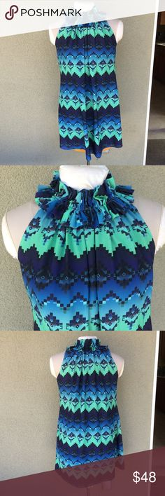 """Whitney Eve Aztec print ombre dress Such a cute dress!!! I don't model. Lined. Flows wonderfully. Ruffle neckline. Buttons behind neck. Pristine condition. The size and care tag was removed for comfort but it's a size M. Length 34"""" pit to pit approx 20"""". Whitney Eve Dresses Mini"""