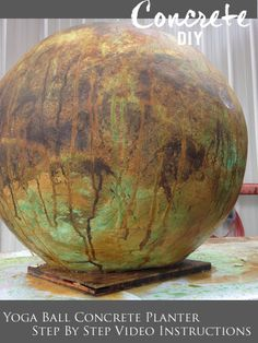 How to make a large concrete ball instructions using a yoga ball as a mold. Concrete acid stain instructions