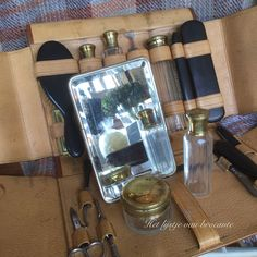 Wonderful men's grooming traveling leather case available in my shop....by Silvia Hokke
