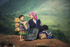 Mother and daughter - Mother and daughter in rice terraces,Tu Le Lao Cai,Vietnam