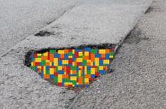 Our newest idea for pothole repair! Legos