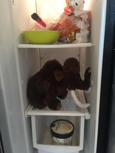 We just bought my 5yr old a stuffed mammoth and he's insistent that it stays in the freezer. Because that's it's habitat. #daddy #love #family #dad #daughter #baby