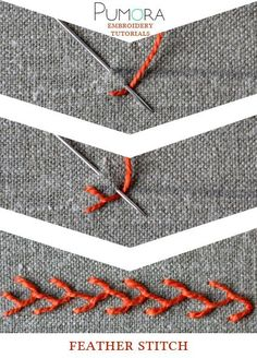 Crewel Embroidery Tutorial feather stitch tutorial - Learn how to embroider with the lexicon of embroidery stitches. Step by step tutorials on how to do the feather stitch and it's variations. Viking Embroidery, Crewel Embroidery Kits, Embroidery Stitches Tutorial, Learn Embroidery, Hand Embroidery Patterns, Embroidery Techniques, Ribbon Embroidery, Cross Stitch Embroidery, Embroidery Designs