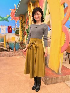 松井愛|今週の衣装|せやねん!|MBS毎日放送 Waist Skirt, High Waisted Skirt, Leather Boots, Singer, Actresses, Female, Skirts, Style, Fashion
