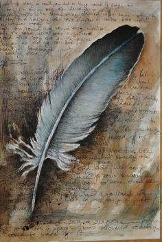 """Feather and Ink on the Aged Pages of a Diary"" ~ Signed Giclee Print (limited edition of by Izzy Verena Feather Painting, Feather Art, Bird Feathers, Watercolor Feather, Blue Feather, Meg Feather, Crow Feather, Feather Crafts, How To Age Paper"