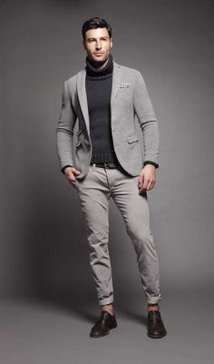 Gray Pants, Gray Knit Jacket, and Black Turtleneck.  Men's Fall Winter Fashion.