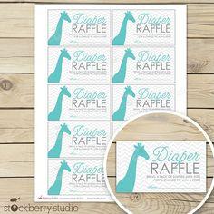 Blue and Gray Chevron Giraffe Baby Shower Diaper Raffle Tickets - Instant Download via Etsy
