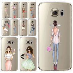 섹시한 현대 레이디 소녀 전화 케이스 S6 S6Edge S6edgeplus s7 S7edge 투명 소프트 실리콘 휴대 전화 가방