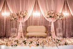 Lavish Traditional Indian Wedding Flowers by Cina featured in Strictly Weddings Indian Wedding Flowers, Indian Wedding Stage, Indian Reception, Indian Wedding Receptions, Arab Wedding, Indian Weddings, Hindu Weddings, Gothic Wedding, Purple Wedding