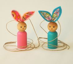 Pick TWO, wood BUNNIES, wooden toy peg people bunnies, Waldorf Bunnies, Waldorf Toy Easter Basket, Spring decoration, teacher gift. $10.50, via Etsy.