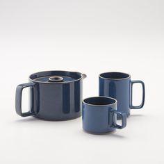 Hasami Teapot + Mugs - Gloss Blue