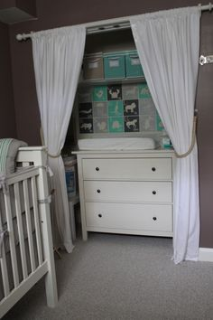 Space idea for Nursery. Closet into storage and changing table.