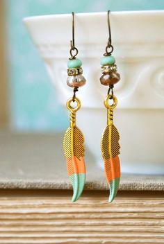 DIY Jewelry: bohemian feather earrings
