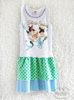 Mermaid Party Tank Dress Retro Custom Infant Toddler Girl Saltwater Sweethearts    This sweet dress features a trio of mermaids with a seahorse on a sleeveless tank bodice with a double-ruffled skirt of lime and blue dots and a blue ocean waves print. Perfect for a mermaid birthday party or pool party. Top is trimmed tiny french trim, so lovely!. This sweet dress will be remade in size newborn to 14/16(one dress). This listing is for the dress ONLY in the sizes specified. Other outfit is...