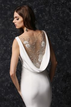 Impression Bridal Bateau Neckline Wedding Dress with Cowl Beaded Illusion and Button Detail - Victor Harper Collection