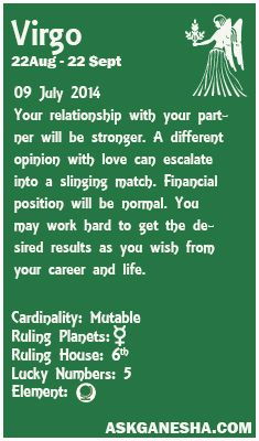 Virgo Daily horoscope for 9th July 2014.