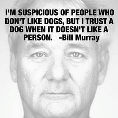 I'm suspicious of people who don't like dogs, but I trust a dog when it doesn't like a person. - Bill Murray