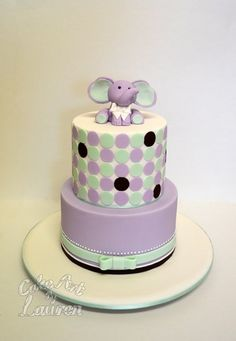 Baby Elephant Baby Shower Cake - by CakeArtByLauren @ CakesDecor.com - cake decorating website