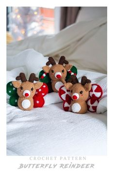 Make your very own cute crochet butterfly reindeer! Get started with amigurumi with this crochet pattern for your christmas gifts and decor. Create your own cute reindeer with this easy and unique crochet pattern. Cute and kawaii, this basic and beginner friendly DIY project is perfect for any crocheter that loves christmas and summer. This stuffed animal amigurumi is perfect for home decor. Great project for the holidays! Stuffed animal plushie that can be made quickly with lion brand yarn. Unique Crochet, Easy Crochet Patterns, Cute Crochet, Crochet Dolls, Beginner Crochet Projects, Crochet For Beginners, Crochet Butterfly, Crochet Home Decor, Lion Brand Yarn