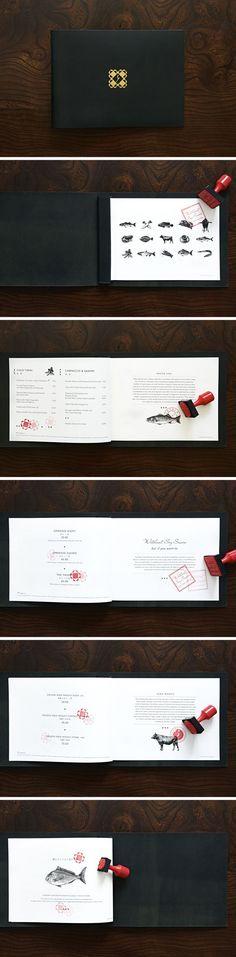 Yashin Sushi & Bar London #restaurant #leather #menu #design #stamp