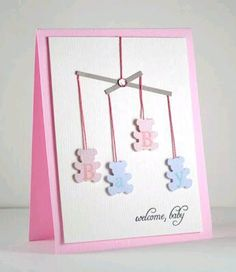 mobile card from Dahlia Memories Baby Girl Cards, New Baby Cards, Scrapbook Bebe, Scrapbook Cards, Karten Diy, Baby Shower Cards, Card Tags, Card Kit, Baby Crafts