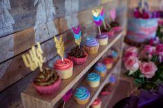 Cupcakes from a Boho Teepee 1st Birthday Party via Kara's Party Ideas | KarasPartyIdeas.com (29)