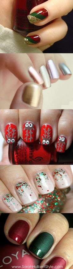 Beauty! :) Christmas themed nail design #Christmas #Nails
