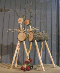 Rustic Log Reindeer Wooden Reindeer Primitive by GFTWoodcraft