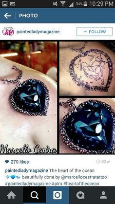 Heart of the ocean Jewel Tattoo, Ocean Heart, Ocean Tattoos, Class Ring, Body Art, Piercings, Tattoo Designs, Gemstone Rings, Ink