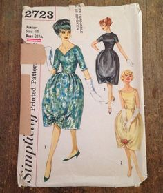Simplicity sewing pattern 2723 is for a dress with a bell-shaped skirt with pleats and piping at waistline; bow trim pleats at lower edge. V. 1 and 3 have set-in sleeves. V. 1 features a V front neckline. V. 2 has wide, round neckline. V. 3 features a high round neckline. Pattern was created a part of a Junior Miss size range. Please see measurements in Item Specifics.